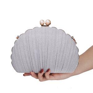 Schöne Silber Rüschen Clutch Tasche 2020 Metall Perle