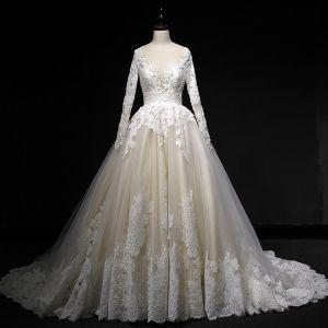Eleganckie Szampan Suknie Ślubne 2018 Suknia Balowa Z Koronki Aplikacje Cekiny Wycięciem Bez Pleców Długie Rękawy Trenem Sąd Ślub