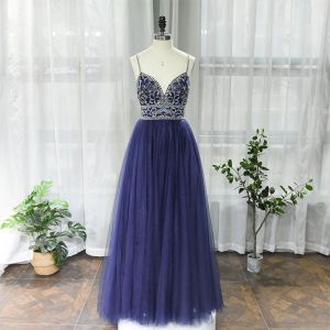 High-end Navy Blue Dancing Prom Dresses 2020 A-Line / Princess Spaghetti Straps Sleeveless Beading Rhinestone Floor-Length / Long Ruffle Backless Formal Dresses