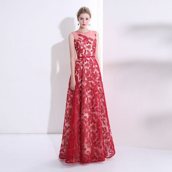 Chic / Beautiful Red Prom Dresses 2017 A-Line / Princess Lace Sash Sequins Scoop Neck Sleeveless Floor-Length / Long Formal Dresses
