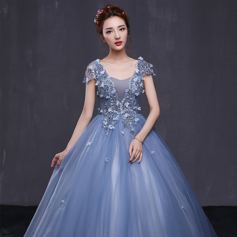 Chic / Beautiful Formal Dresses 2017 Prom Dresses Sky Blue Ball Gown Floor-Length / Long V-Neck Sleeveless Backless Appliques Flower Rhinestone Sequins