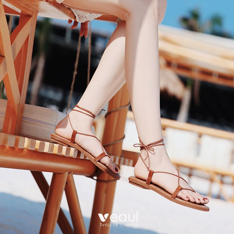 Bohemia Brown Womens Sandals 2019 Summer Beach Outdoor / Garden Open / Peep Toe Strappy X-Strap Flat Sandals Womens Shoes