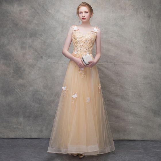 Piękne Szampan Sukienki Wieczorowe 2017 Princessa Motyl Z Koronki Kwiat Frezowanie Cekiny Wycięciem Bez Pleców Bez Rękawów Długość Kostki Sukienki Wizytowe