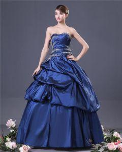 Ball Gown Elegant Strapless Taffeta Beading Designer Navy Prom Dresses