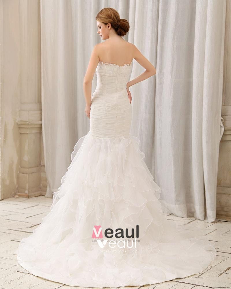 Stylish Ruffle Floor Length Semi-cathedral Strapless Organza Mermaid Wedding Dress