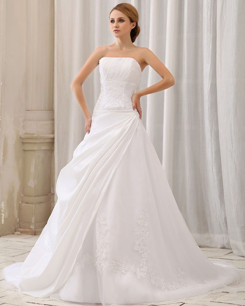Elegant Solid Ruffle Applique A-Line Strapless Back Zipper Court Train Taffeta Wedding Dress