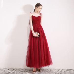 Elegant Bourgogne Selskabskjoler 2019 Prinsesse Spaghetti Straps Ærmeløs Beading Krystal Glitter Tulle Ankel Længde Flæse Halterneck Kjoler