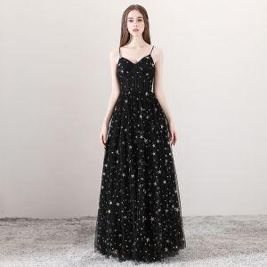 Seksowne Czarne Sukienki Na Bal 2018 Princessa Spaghetti Pasy Bez Rękawów Gwiazda Haftowane Długie Wzburzyć Bez Pleców Sukienki Wizytowe