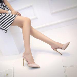 Hermoso Nude Casual Zapatos De Mujer 2018 Cuero 10 cm Stilettos / Tacones De Aguja Charol Punta Estrecha High Heels