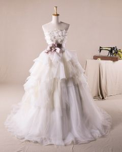 Pretty Ruffles Applique Flower Decoration Strapless Tulle A Line Wedding Dress