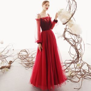 Chic / Beautiful Red Evening Dresses  2019 A-Line / Princess Off-The-Shoulder Puffy Long Sleeve Floor-Length / Long Ruffle Backless Formal Dresses