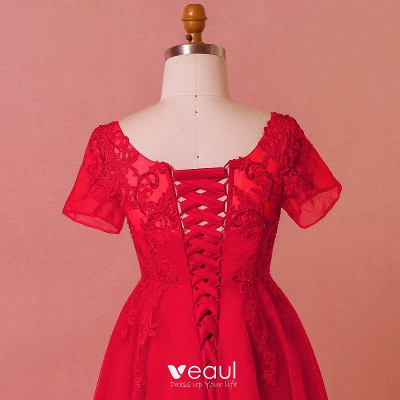 Hermoso Rojo Talla Extra Vestidos De Noche 2018 A Line Princess U Escote Tul Con Encaje Correas Cruzadas Apliques Sin Espalda Rebordear Verano Noche