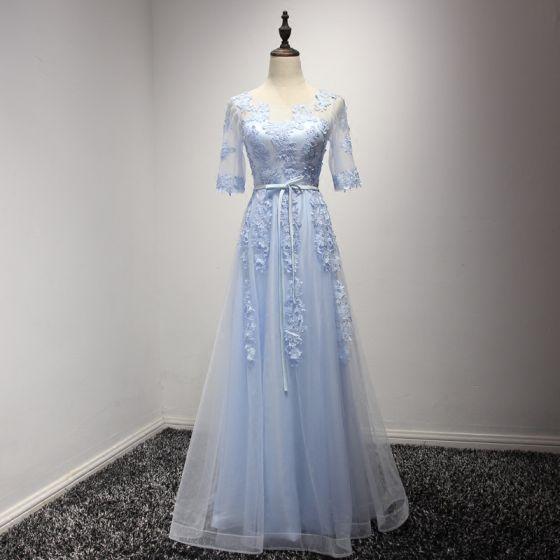 Elegantes Azul Cielo Vestidos de noche 2017 A-Line / Princess Largos Volantes En Cascada Scoop Escote 1/2 Ærmer Sin Espalda Con Encaje Apliques Cinturón Traspasado Vestidos Formales