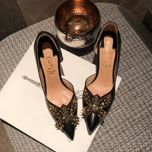 Chic / Beautiful Black Evening Party Rivet Pumps 2020 8 cm Stiletto Heels Pointed Toe Pumps