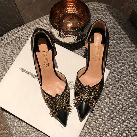 Chic / Beautiful Black Evening Party Rivet Pumps 2020 8 cm Stiletto Heels Pointed Toe Pumps