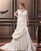 Satin V-Neck Beading Chapel Train Empire Plus Size Wedding Dresses