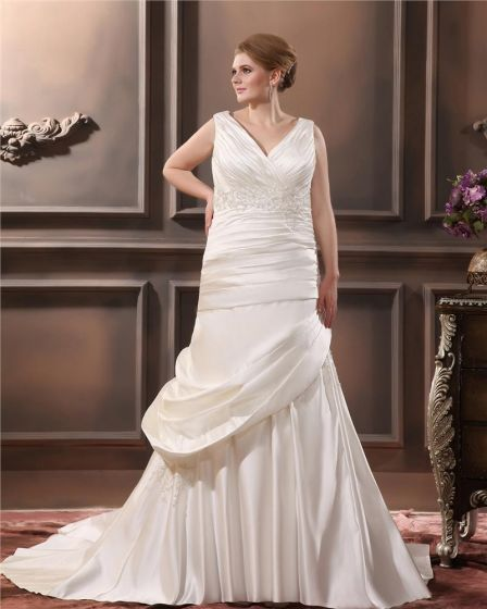 Satin V-Neck Beading Chapel Train Empire Plus Size Wedding Dresses