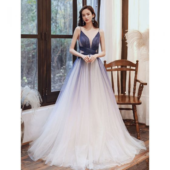 Charming Navy Blue Gradient-Color Prom Dresses 2020 A-Line / Princess Glitter Tulle Spaghetti Straps Sleeveless Backless Sweep Train Formal Dresses