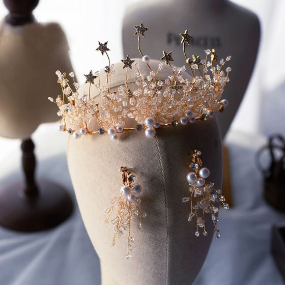 Chic / Beautiful Gold Earrings Tiara Bridal Jewelry 2020 Alloy Star Crystal Pearl Wedding Accessories