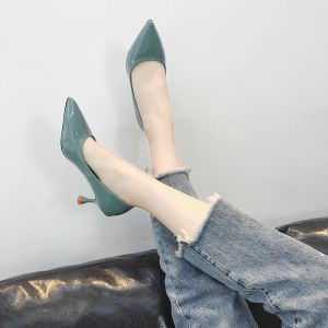 Modest / Simple Pool Blue Office Pumps 2018 6 cm Stiletto Heels Pointed Toe Pumps
