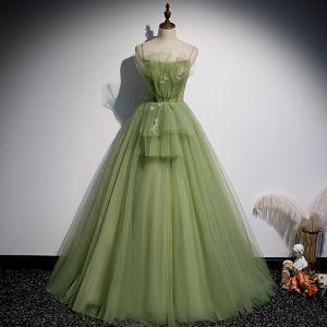 Elegant Kløver Grøn Flæse Gallakjoler 2020 Prinsesse Spaghetti Straps Perle Ærmeløs Halterneck Lange Kjoler