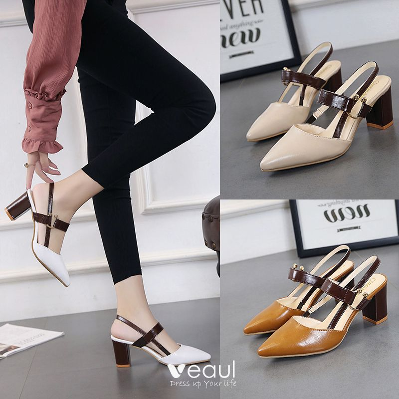Chic / Beautiful Beige Outdoor / Garden PU Low Heels / Kitten Heels Thick Heels Pumps 2017 Pumps