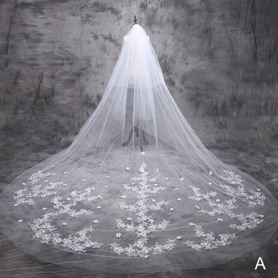 8 Styles Wedding Veils 2016 Beautiful Applique Lace 3 M Train 3 M Tailing Long Bridal Veil