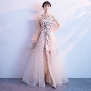 Chic / Beautiful Champagne Evening Dresses  2018 A-Line / Princess Sequins Scoop Neck Sleeveless Floor-Length / Long Formal Dresses