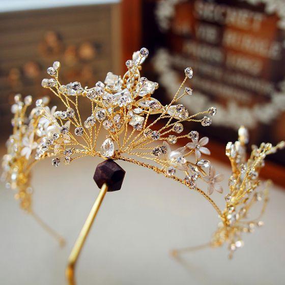 Modest / Simple Gold Tiara Accessories 2019 Metal Rhinestone Bridal Hair Accessories
