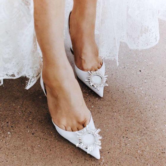 Charmant Ivoire Faux Diamant Slingbacks Chaussure De Mariée 2020 Cuir 8 cm Talons Aiguilles À Bout Pointu Mariage Sandales