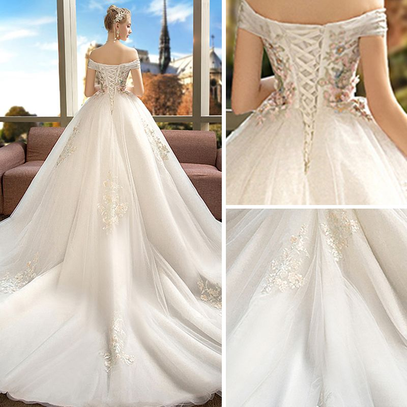 Chic / Beautiful Ivory Pregnant Wedding Dresses 2019 Empire Off-The-Shoulder Short Sleeve Backless Appliques Lace Pearl Rhinestone Chapel Train