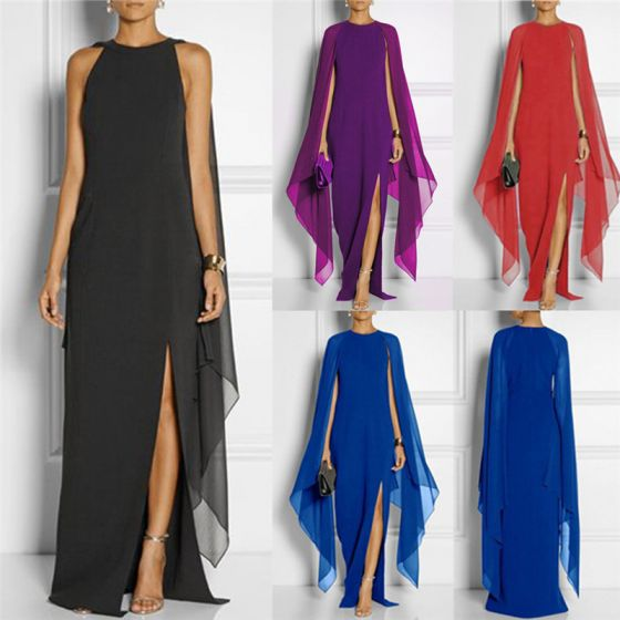 Chic / Beautiful Purple Maxi Dresses With Shawl 2018 Trumpet / Mermaid Split Front Scoop Neck Short Sleeve Floor-Length / Long Womens Clothing