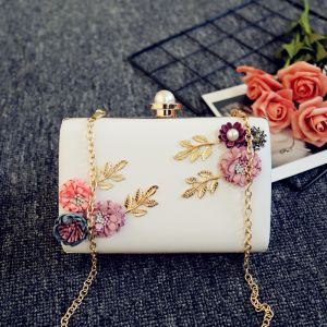 Chic / Beautiful White Flower Metal Clutch Bags 2018