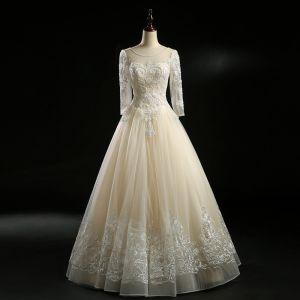 Vintage Champagner Brautkleider 2018 A Linie Durchsichtige Rundhalsausschnitt Lange Ärmel Rückenfreies Applikationen Mit Spitze Perle Perlenstickerei Lange Rüschen