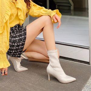 Sencillos Beige Ropa de calle Tobillo Botas de mujer 2020 9 cm Stilettos / Tacones De Aguja Punta Estrecha Botas