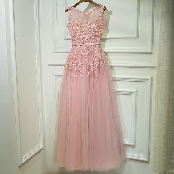 9bd99bb55ca Chic   Belle Rose Bonbon Robe Demoiselle D honneur 2017 Princesse En  Dentelle Fleur Perle Lanières Sans ...