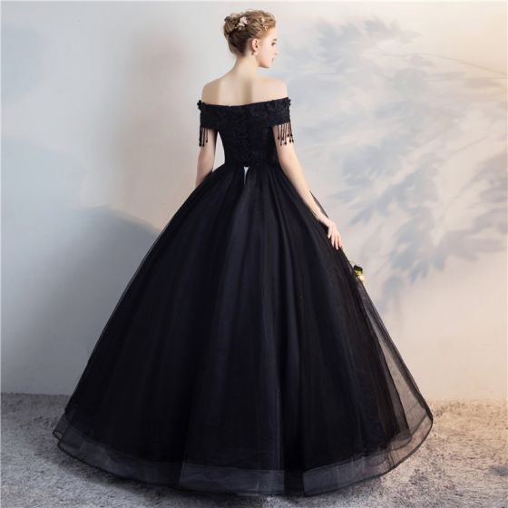 Affordable Black Puffy Quinceañera Prom Dresses 2018 Ball Gown Lace Flower Beading Pearl Tassel Off-The-Shoulder Backless Short Sleeve Floor-Length / Long