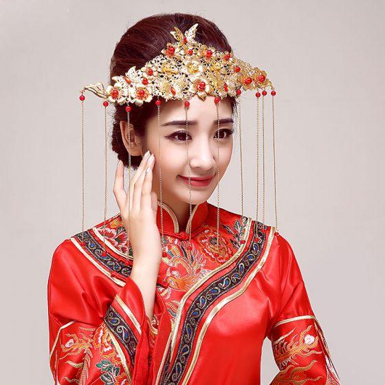 Kinesisk Stil Klassisk Brude Hodeplagg / Hode Blomst / Bryllup Har Tilbehør / Bryllup Smykker