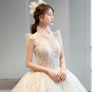 Vintage / Retro Champagne See-through Bridal Wedding Dresses 2020 Ball Gown High Neck Sleeveless Appliques Lace Glitter Tulle Beading Cathedral Train Ruffle