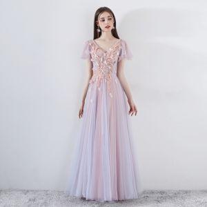 Romantisk Perle Rosa Ballkjoler 2019 Prinsesse V-Hals Korte Ermer Appliques Blonder Beading Lange Buste Ryggløse Formelle Kjoler