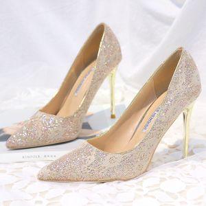 Glitzernden Gold Brautschuhe 2018 Pailletten 10 cm Stilettos Spitzschuh Hochzeit Pumps