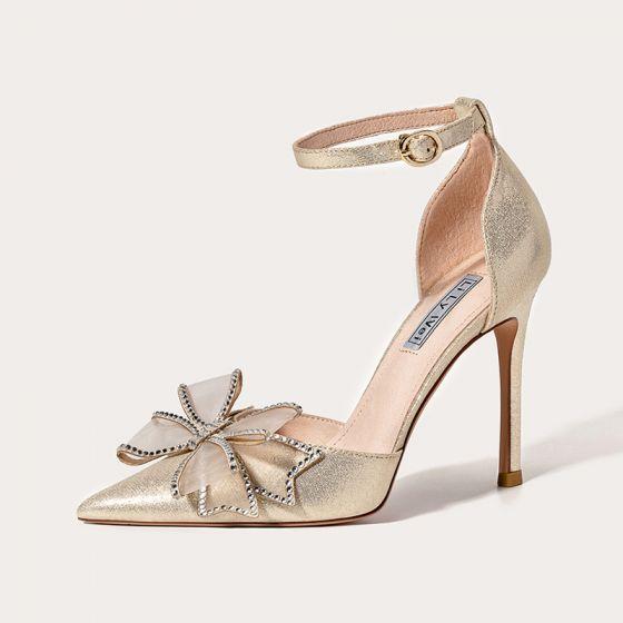 Moda Champán Noche Sandalias De Mujer 2021 Cuero Rhinestone Bowknot Correa Del Tobillo 10 cm Stilettos / Tacones De Aguja Punta Estrecha Sandalias High Heels