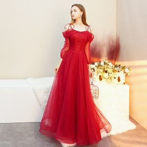 Chic / Beautiful Red Evening Dresses  2019 A-Line / Princess Spaghetti Straps Bow Backless 3/4 Sleeve Floor-Length / Long Formal Dresses