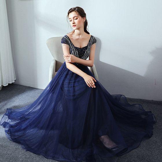 Piękne Granatowe Sukienki Wieczorowe 2017 Princessa Tiulowe U-Szyja Frezowanie Rhinestone Wieczorowe Sukienki Wizytowe