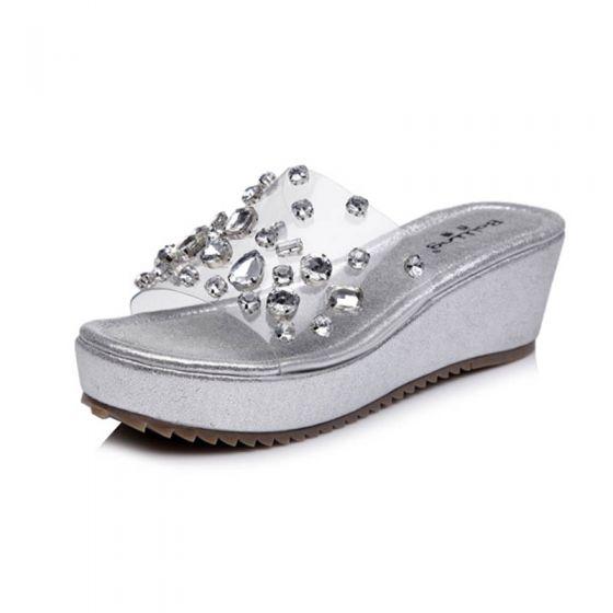 Sparkly Silver Outdoor / Garden Womens Sandals 2017 Slipper & Flip flops PU Rhinestone Open / Peep Toe