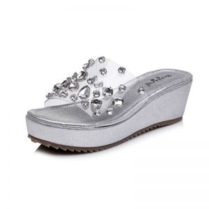 Sparkly Silver Outdoor / Garden Womens Sandals 2017 Slipper PU Rhinestone Open / Peep Toe