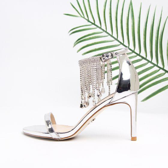 Moderne / Mode Argenté Sandales Femme Plage Cuir Cristal Gland Peep Toes / Bout Ouvert Talons Hauts Sandales Cocktail Soirée 9 cm Chaussures Femmes 2019