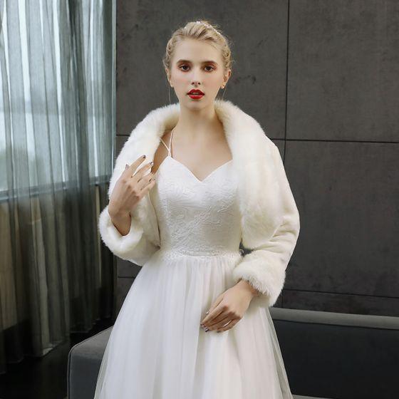 White Winter Long Sleeve Faux Fur Wedding Prom Coats / Jackets 2017