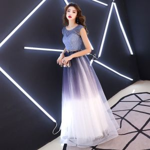 Charming Grape Gradient-Color 2019 A-Line / Princess Evening Dresses  Scoop Neck Sequins Metal Sash Sleeveless Backless Floor-Length / Long Formal Dresses