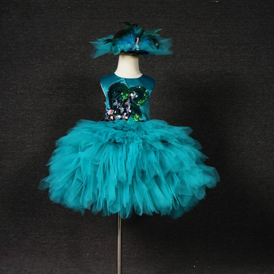 Chic / Beautiful Jade Green Birthday Flower Girl Dresses 2020 Ball Gown Scoop Neck Sleeveless Appliques Sequins Short Cascading Ruffles Wedding Party Dresses